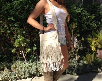 Cross body bag,large,suede leather, Shoulder Bag ,Fringed, Purse,bags purses, Made in Mexico