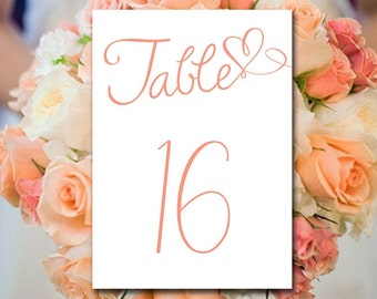 """Coral Wedding Table Number Template - Heart Wedding Card - Wedding Template Instant Download """"Heart Script"""" Calligraphy Wedding Table Number"""