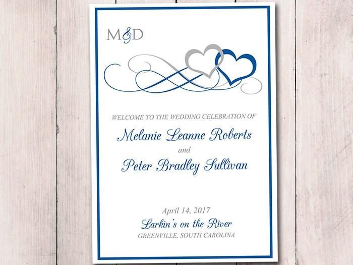 Fold Over Wedding Program Template Download Heart Wedding