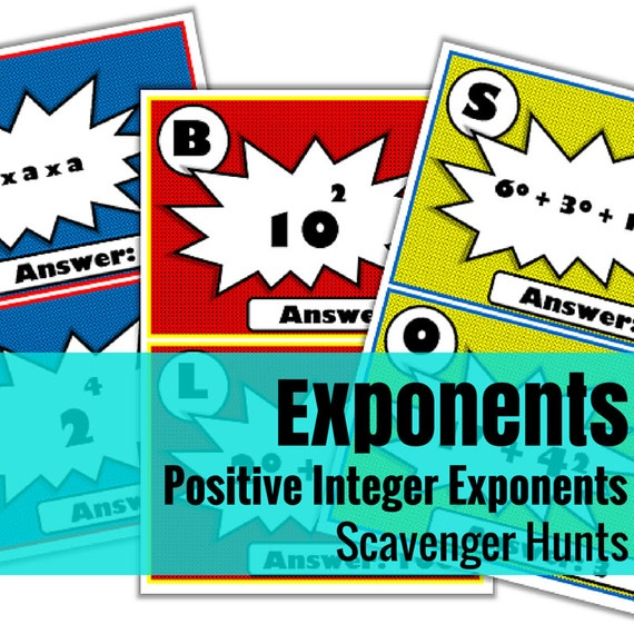 Positive Integer Exponents Scavenger Hunts - Set of 3 | A Math Activity