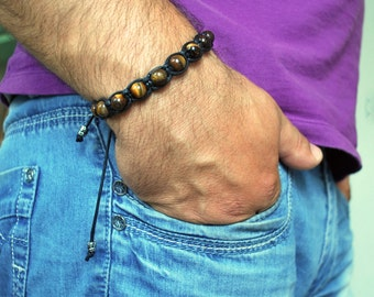 Mens bracelet , Tiger eye bracelet , Beaded bracelet , Boyfriend gift , For men , For him , Mens gift , Friendship bracelet