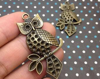 5 PCS 32x51mm Antique Bronze Owl Charm Pendant