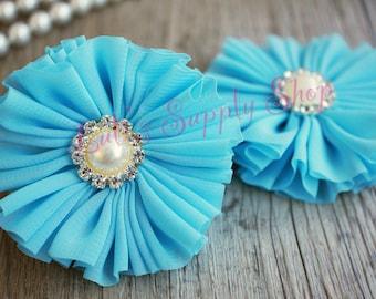 "Set Of 2 Turquoise Ballerina Flowers with Rhinestone Pearl Button - 3"" Chiffon Ballerina Flowers - Blue Ballerina Flowers - Fabric Flowers"