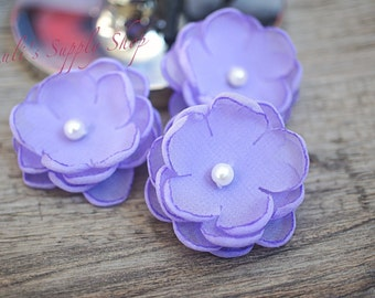 "Set of 3 Lavender - 1.5"" Chiffon Flowers w/ Pearl Center - Petite flower - Chiffon Flower - Fabric Flower - wholesale flowers Supply"