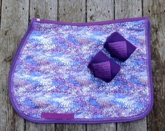 Purple Fusion Custom Made English Saddle Pad with Bling and Matching Polo Wraps