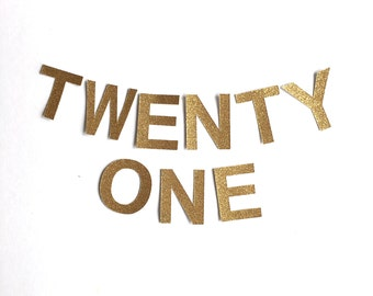TWENTY ONE Gold Glitter Bunting Garland. 21st Birthday Party Banner decoration
