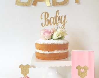 Baby Shower Pink Gold Glitter Party Kit - Gold Glitter Baby Cake Topper, onesie Cupcake Toppers, Pink Lolly Bags, Baby Bunting / Garland