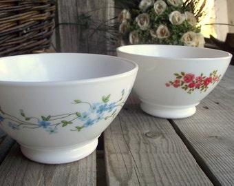 Milkglass Café au Lait Bowls - Set of 2 - French Vintage Arcopal - Pink and Blue Flowers - Pedestral Base Bowl - French Breakfast
