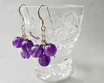 Natural Amethyst and 925 sterling Silver earrings