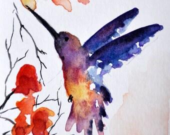 Original ACEO Impressionist Watercolor Painting, Original Art ACEO, Miniature Hummingbird Painting 2.5x3.5 Inch SFA