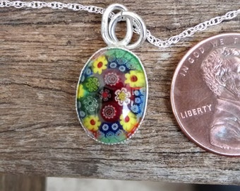 Millefiori Glass and Sterling Silver Necklace