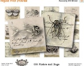 """Last Call Fishes and Bugs  - 2x2"""" - Digital Collage Sheet - Printable instant download for greeting cards magnets gift tags"""