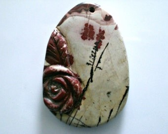 Chinese Painting Jasper Carved Oval Pendant -One of a Kind 3D Flower