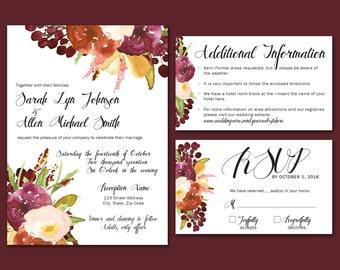 Romantic Floral Blush, Burgundy, Gold Watercolor Flower Wedding Invitation Suite - Invite, RSVP, Info Card - Digital Download File