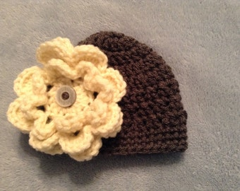 Crochet Baby Hat with Removable Flower