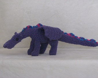 Darren the Purple Dragon - Crocheted Stuffed Dragon