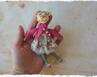 OOAK ART Doll -Cat- Brooch