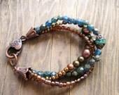 Picasso Turquoise cowgirl gift for her, girlfriend Jasper copper boho chic bracelet, southwestern  bracelet, spring trends, mothers gift