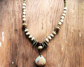 African Opal necklace, tribal boho chic necklace, jasper necklace, amazonite necklace, gift ideas, southwestern  jewelry