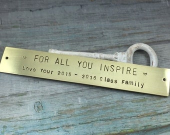 Hand Stamped Long Brass Tag, Custom Message Metal Plate, Personalized Metal Tag, Basket Metal Label, Picture Frame Metal Tag, Id Metal Tag