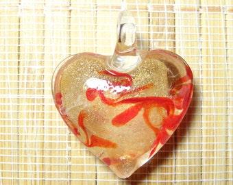 Lampwork Heart Pendant Bead / Glass Heart Pendant Bead
