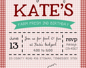 Farm Fresh Birthday Invitation