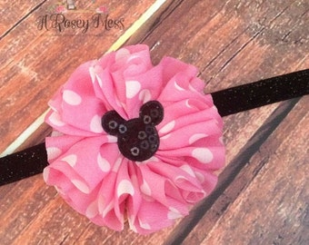 Minnie Mouse Headband- Disney Inspired Headband, Pink and black Minnie Mouse, Disney Headband