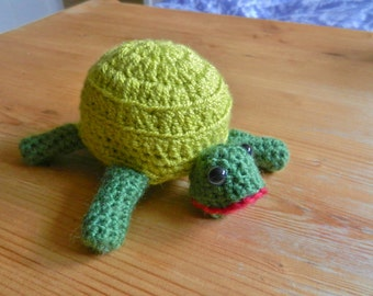 Amigurumi, crocheted, wool animals, green tortoise, turtle, soft toy, plush