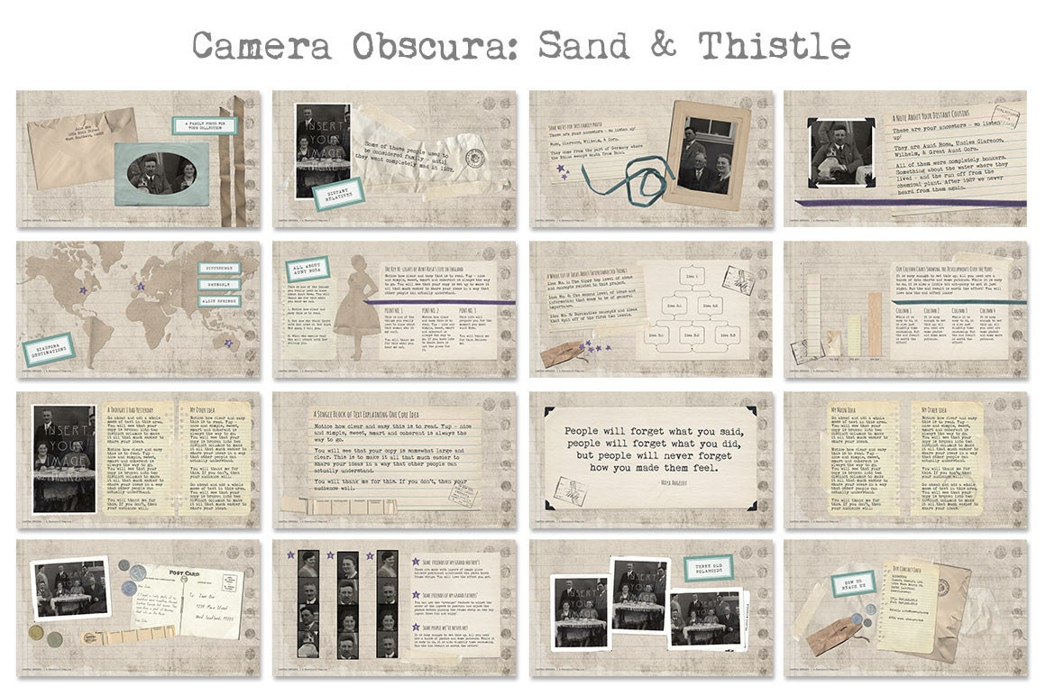 camera obscura powerpoint templates with vintage scrapbook feel, Modern powerpoint