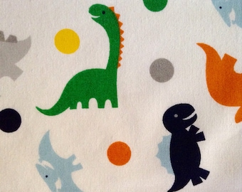 One Half Yard of Fabric Material - Dinosaurs and Dots