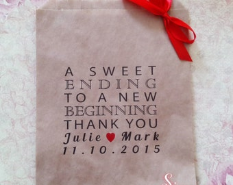 Personalised A Sweet Ending Thank You Kraft Brown Paper Candy Buffet Lolly Bags x 50