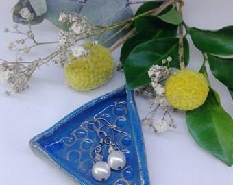 Blue Triangle jewellery dish   handmade   ceramic