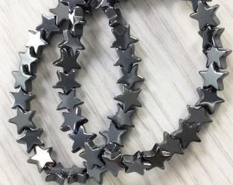 2Full strands 6mm Hematite Beads ,Hematite Star beads ,Star beads,