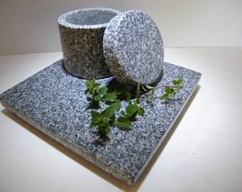 Salt Shed, Trivet, Granite Kitchenware Set/Trivet and Salt Canister Set, Stone Salt Pig and Trivet Set