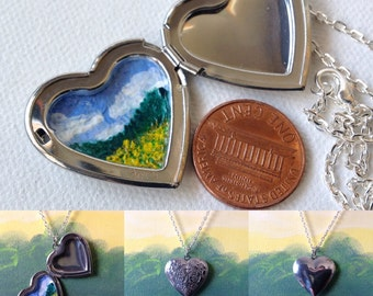 Kentucky Goldenrods, hand painted locket, 24in chain,