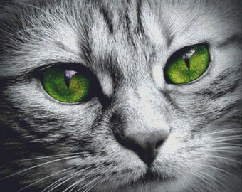 Cat Face PDF Cross Stitch Pattern