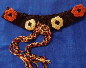 Vintage Chrochet Belt, Brown Crochet Belt,Crochet Hippie Belt,Boho Belt,Handmade Belt,Gypsy Belt,Fall Belt