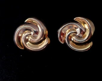 Vintage Sterling Silver Gold Plated Stud Earrings, Two Tone Stud Earrings, Swirl Stud Earrings
