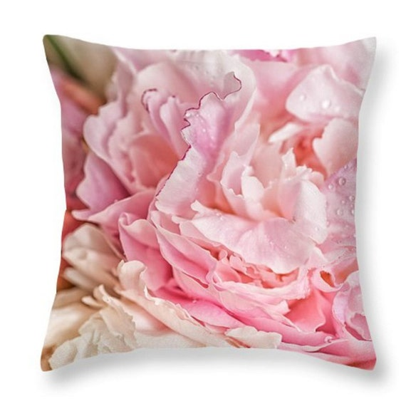 Girly Pink Peonies Decorative Throw Pillow Or Pillow Cover