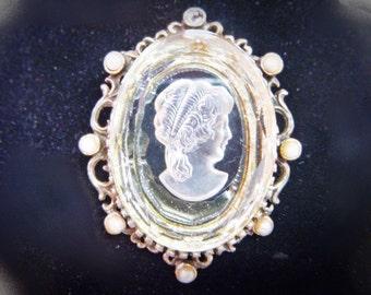 Glass Intaglio Cameo Brooch Pendant