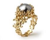 CORAL Gold Pearl Ring, Grey Pearl Ring, Pearl Engagement Ring, Large Pearl Ring, Pearl Statement Ring, Organic Gold Ring, Ocean Ring