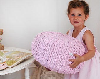 Pink pouf ottoman knitted pouf knit pouf nursery decor, knitted ottoman footstool nursery pouffe nursery decor baby pouffe ZURI