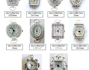 Watch Face Narmi and Geneva Silver Rhinestone Round Oval Square Loop Watch Faces Crystal Beading Watchface Jewelry Supply 1 Piece