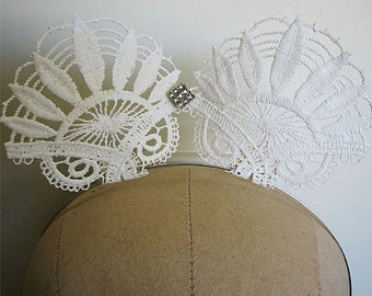 White Lace Cat Ear Crown Rhinestone Headband Burlesque Horse Racing Fascinator Headpiece One Size