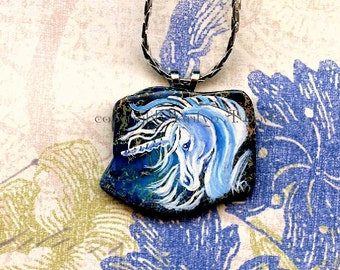 PENDANT - HAND PAINTED; unicorn, fantasy, necklace, hand painted stone, original art, wearable art, irregular stone,