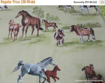 Back to School SALE Flannel Fabric - Horses in Pasture - 1 yard - 100% Cotton Flannel