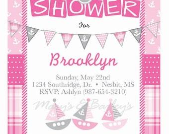 Pink Girl Nautical Baby Shower Invitation
