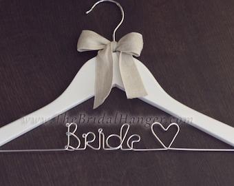 """Handmade """"Bride"""" Wedding Hanger, Bridal Hanger, White Wooden Wedding Hanger, FAST SHIPPING, UK Seller"""