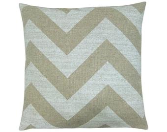 Cushion cover ZIPPY beige natural zigzag stripe striped canvas 50 x 50 cm