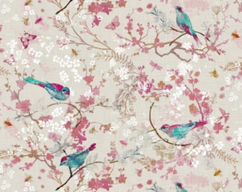 "Organic Cotton ""Birds & Bees"" One Curtain Panel - Yellow, Rose, Aqua. Nature home decor for living room, dining room, baby, bathroom flowers"